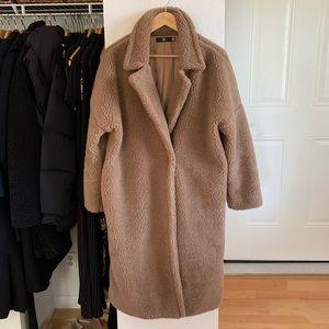 MISSGUIDED Camel Chunky Borg Teddy Coat